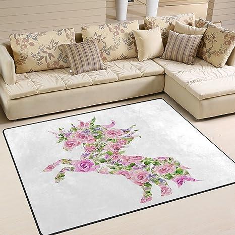 Amazon alaza romantic pink floral unicorn area rug rug carpet alaza romantic pink floral unicorn area rug rug carpet for living room bedroom 53 mightylinksfo