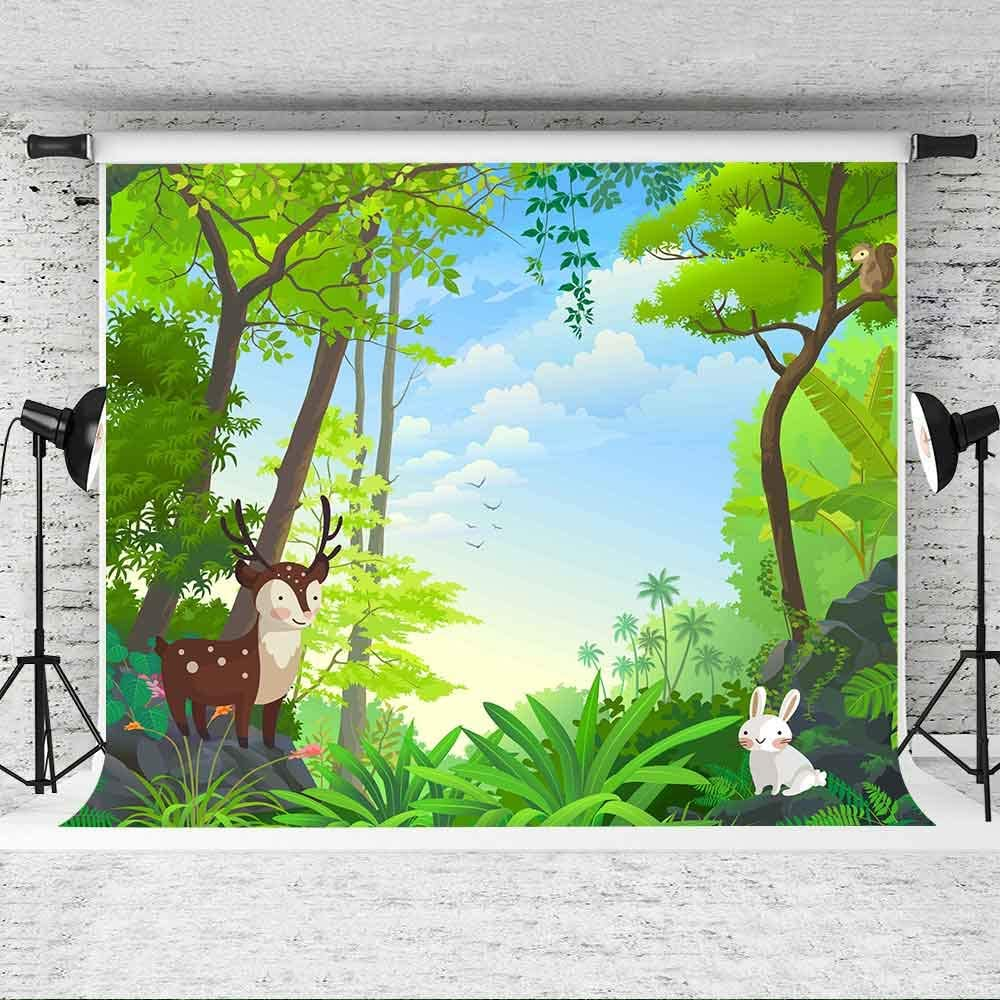7x5ft Cartooon Backdrop Jungle Theme Baby Shower Photography Background First Birthday Photo Shoot Props ZYVV0247