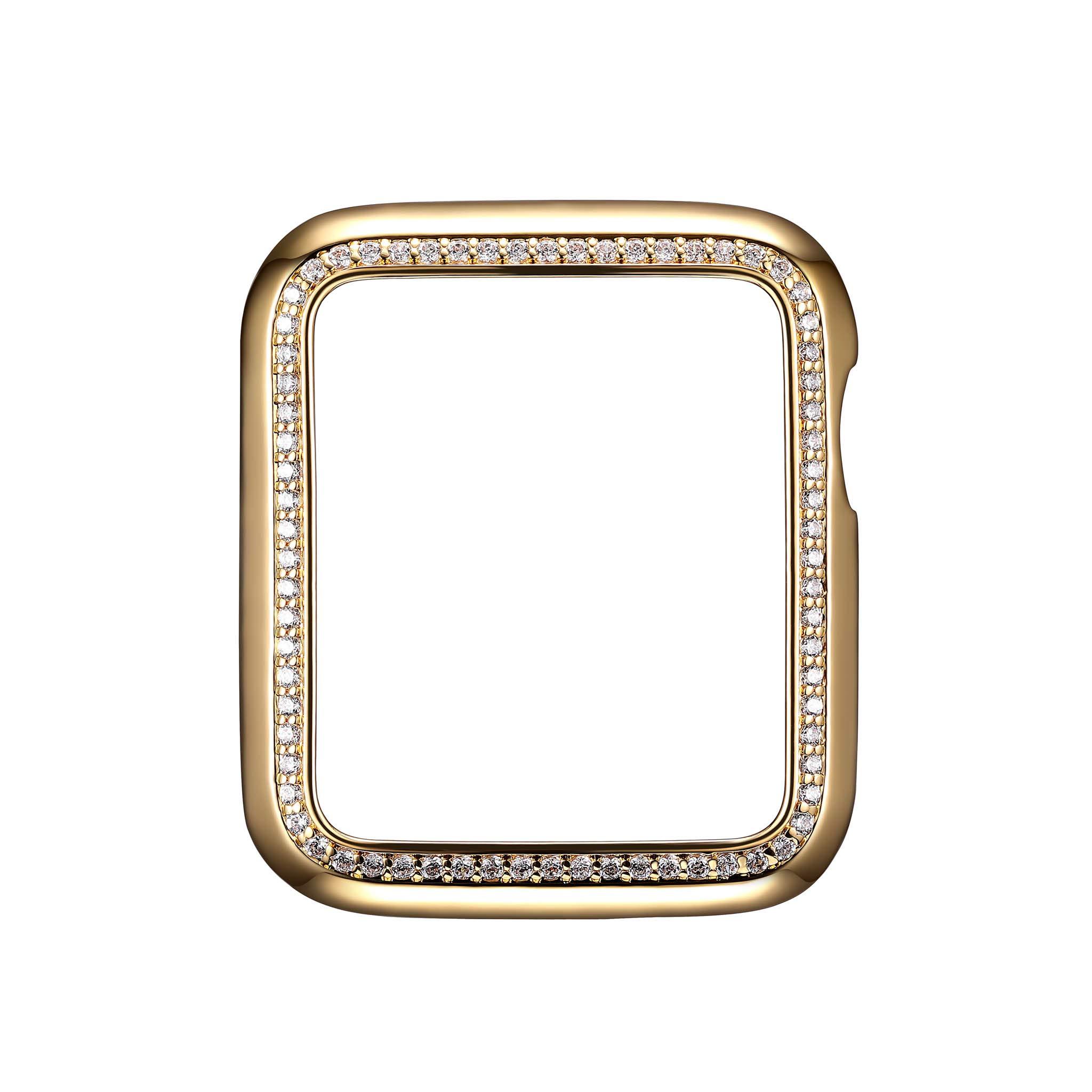 18K Yellow Gold Plated Jewelry-Style Apple Watch Case with Swarovski Zirconia CZ Border - Small (Fits 38mm iWatch)