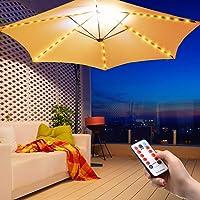 Luz de Cadena de Paraguas al Aire Libre Luces de Sombrilla de Patio Luces con Pilas 104 Luces LED Impermeables para…