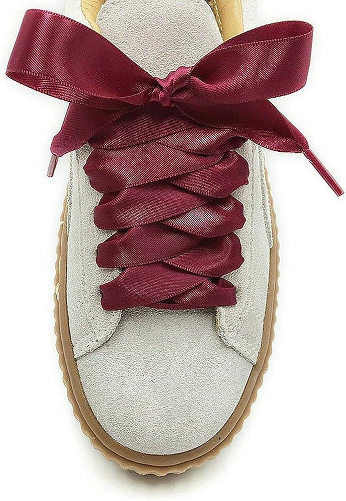 MAYBAO Wine Red Satin Ribbon Shoelaces