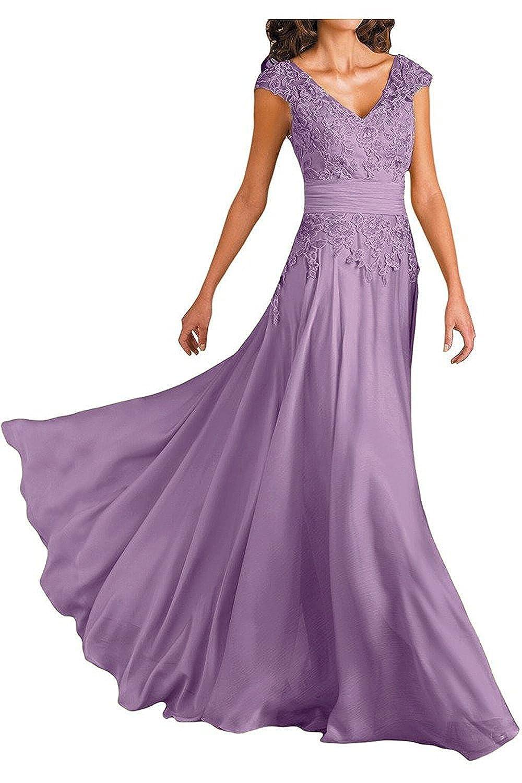 Ever Girl Womens Deep V-Neck Cap Sleeves Long Chiffon Mother of Bride Dresses