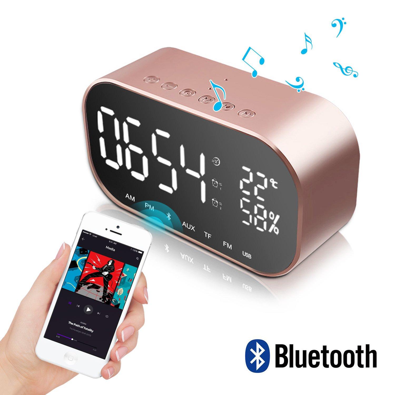 Despertador con Altavoz Bluetooth, JIMS STORE Reloj de Escritorio con FM Radio y Micrófono, Soporte Llamada Manos Libres, Llamada de Voz,Tarjeta TF, ...