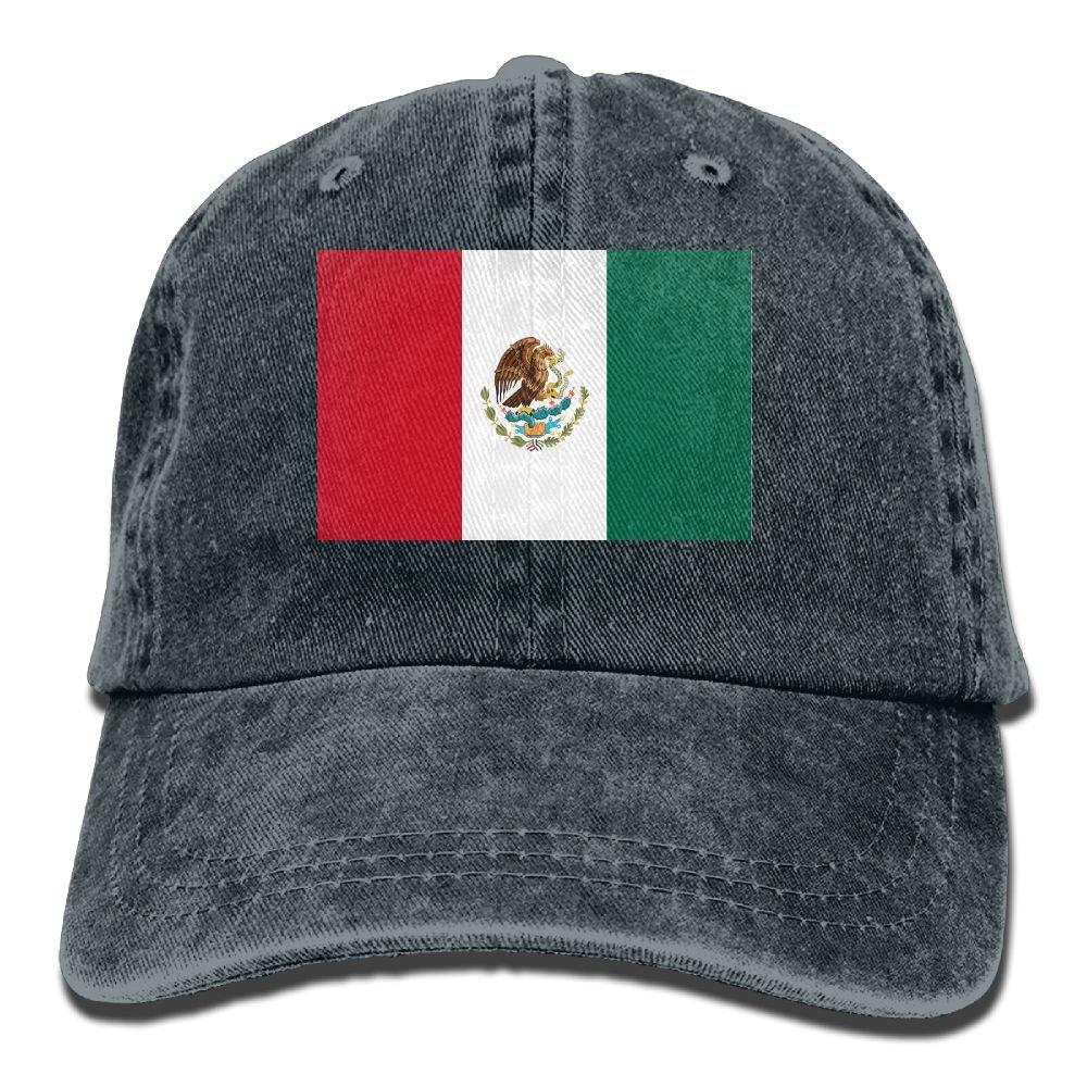 MASDUIH Flag Of Mexico Denim Hat Baseball Caps Adjustable Plain Cap