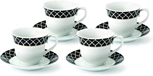 Lorren Home Trends Domino-4 Cups and Saucers, One Size, Black