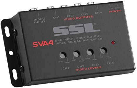 sound storm labs sva4 video signal amplifier single source in four outputs  stereo rca l r phono to speaker wire