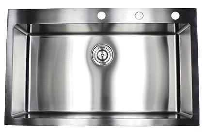 36 Inch Topmount / Drop In Stainless Steel Single Bowl Kitchen Sink 15mm  Radius Design 16