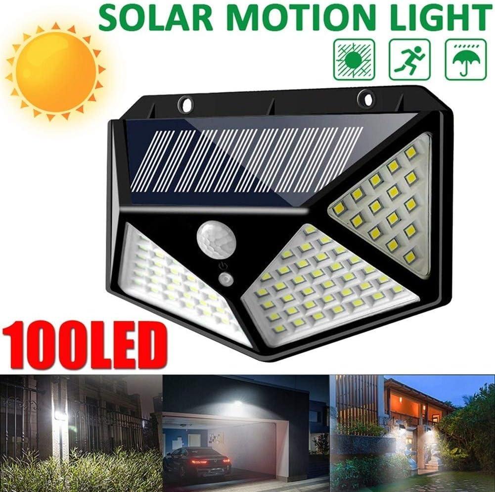 100LED Solar Power PIR Motion Sensor Wall Light Outdoor Garden Lamp Waterproof #