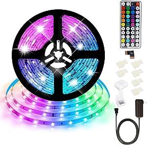 SHOPLED Led Strip Lights 16.4ft RGB Color Changing Light Strips 5050 Black LED Strip Kit with 44 Keys RF Remote, 12V LED Tape Lights for TV Backlight, Kitchen, Bar, Cabinet, Bed, Home Decoration