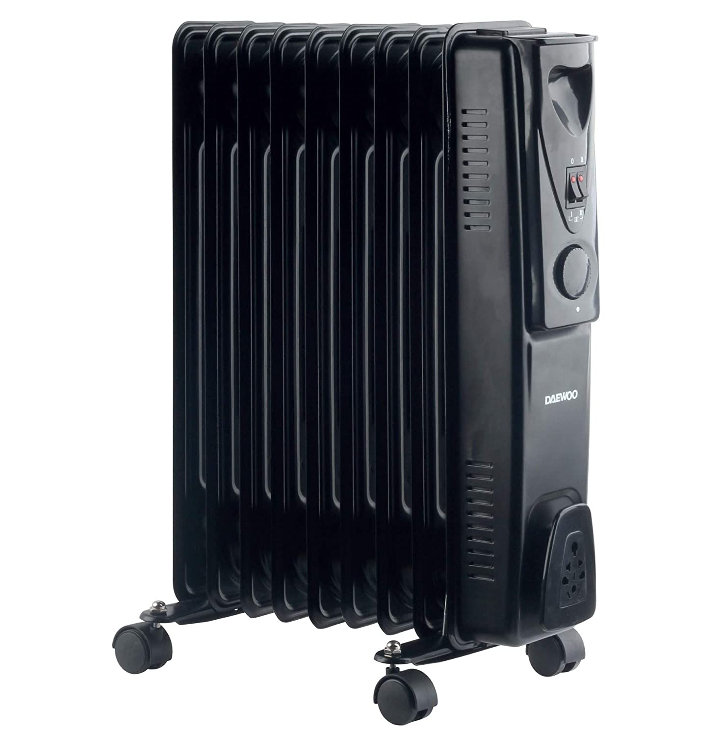 Daewoo 2000W Portable Oil Filled Radiator Heater with Thermostat (Black)