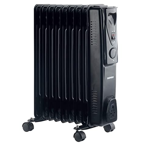 c4c29ab0599 Daewoo Oil Filled Portable Radiator Black 2000W With Heat Settings and  Thermostat Control  Amazon.co.uk  Kitchen   Home