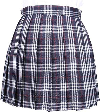 Kunfang Mujer Falda Corta Plisadas Falda Acampanada Tartán Falda ...