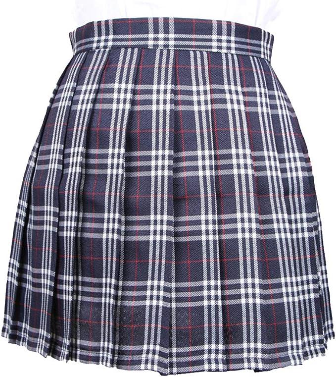 WEIMEITE Falda Cuadros Falda Cintura Alta Colegiala Japonesa Japón ...
