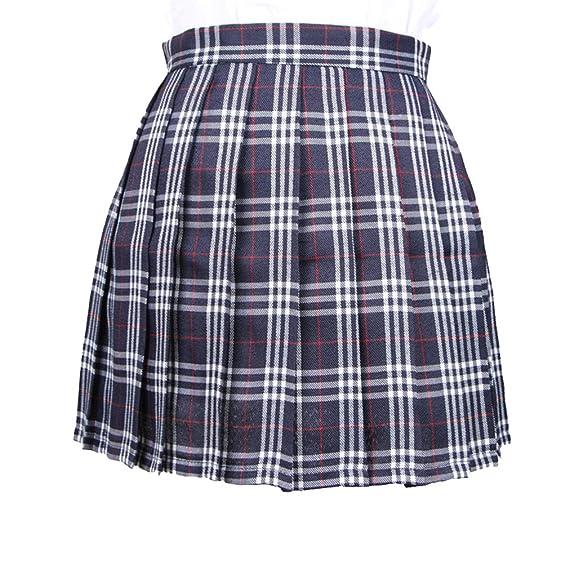 Yying Mujeres Niñas Corto Cintura Alta Falda Plisada Falda Tenis ...