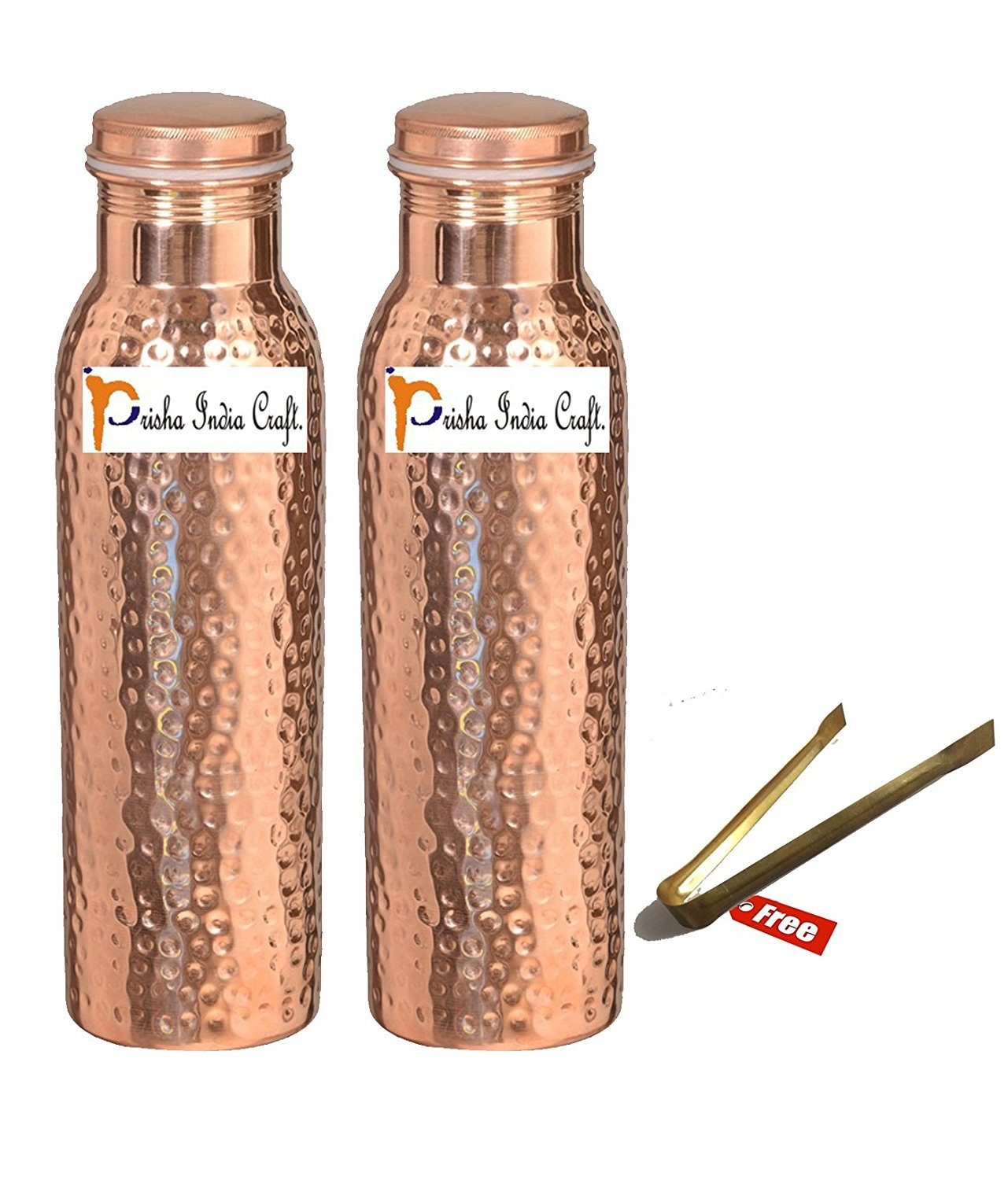 1000ml / 33.81oz - Set of 2 - Prisha India Craft - Hammered Copper Water Bottle | Joint Free, Best Quality Water Bottle - Handmade Christmas Gift