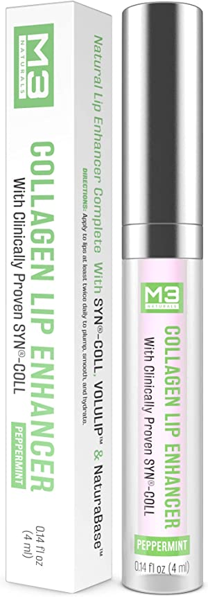 M3 Naturals Collagen Lip Enhancer Clinically Proven Natural Peppermint Lip Plumper for Fuller Softer Lips Increased Elasticity Reduce Fine Lines Hydrating Plump Gloss Lipstick 4ml