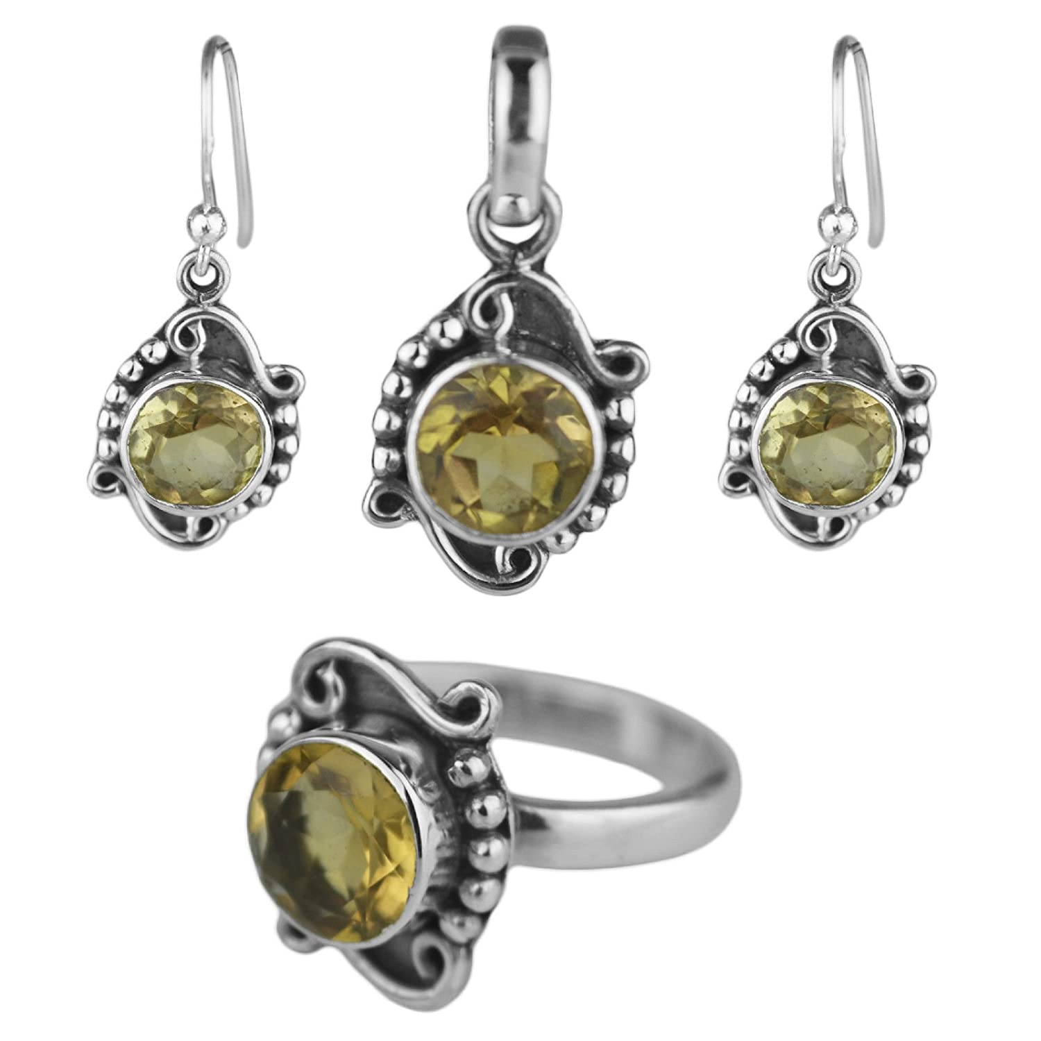Crystalcraftindia Citrine gemstone jewelry set pendant ring earring sterling silver 9.58 gms c