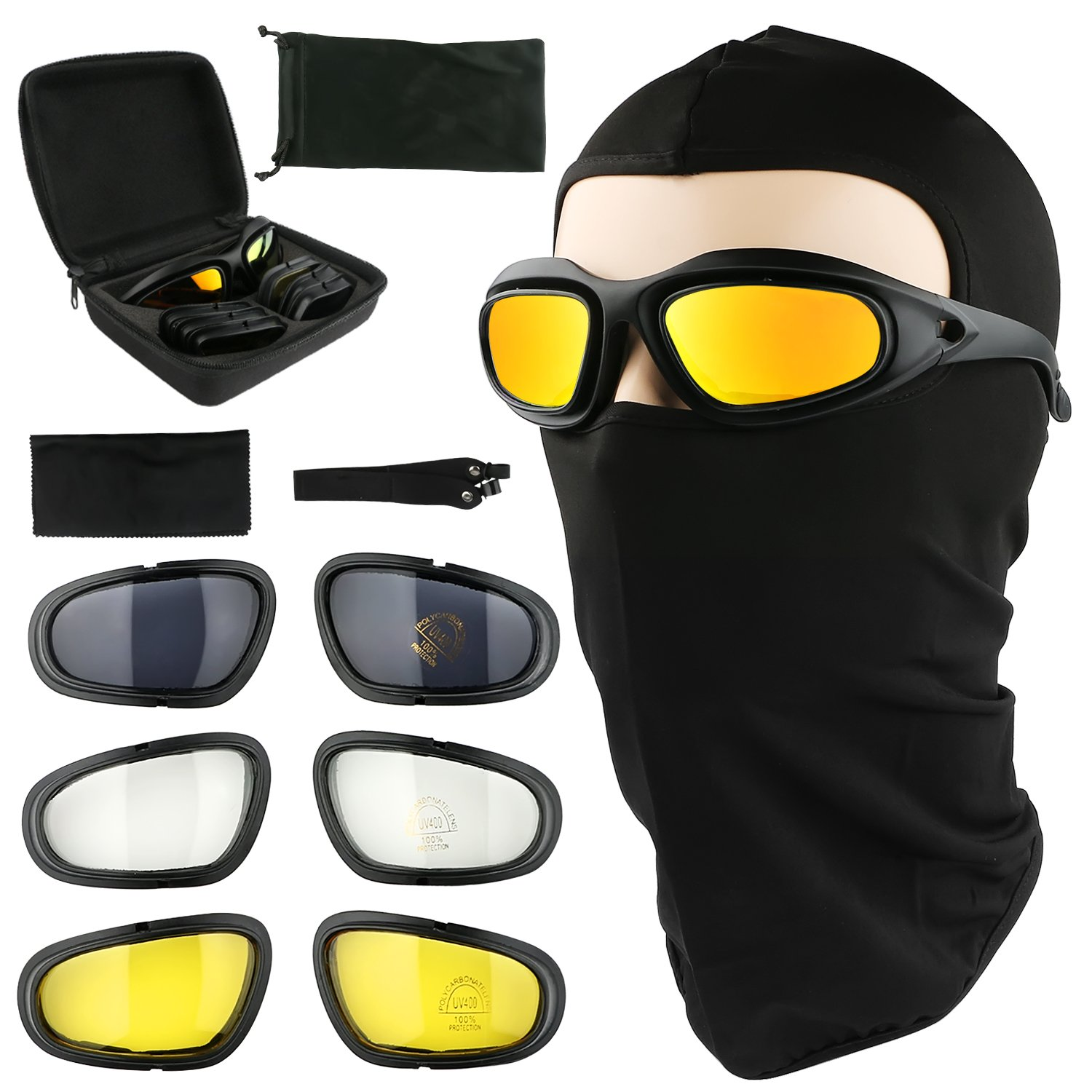 Motorcycle Riding Glasses UV400 Bicycle Safety Goggles Eyes protection Black Frame with 4 Pairs Lenses Come with a Balaclava Tactical Face Mask Outdoor Sports Motorcycle Sunglasses Goggles