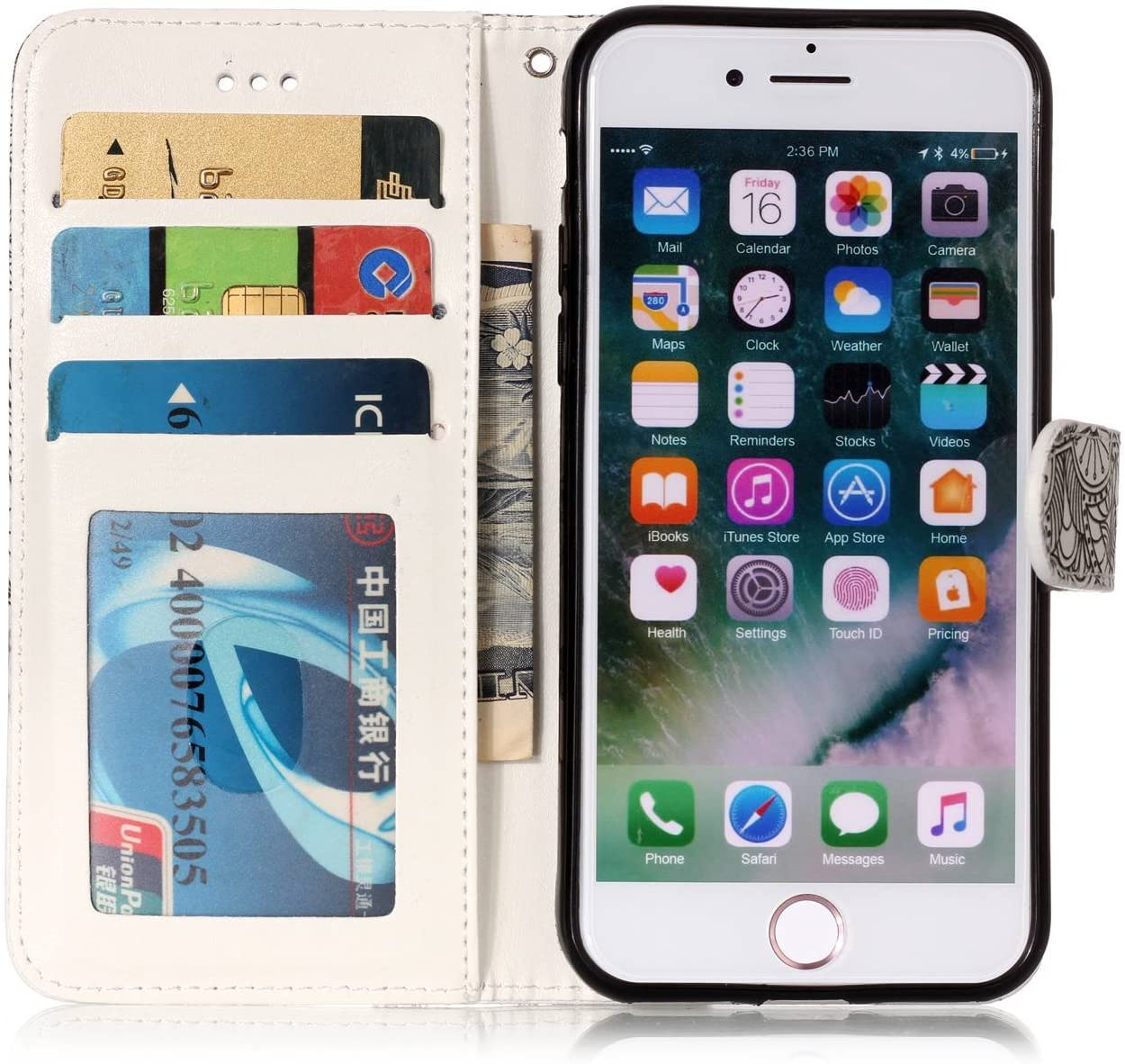 KM-Panda Housse Coque Apple iPhone 5 5S Se Marbre Mandala Henna Cuir PU Wallet Cover TPU Silicone /Étui Portefeuille Flip Case