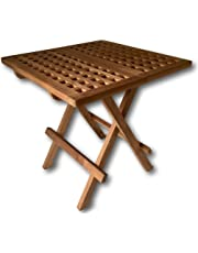 Rustic House Square Coffee Table - Teak Wood - Folding Garden Picnic Table for Patio - 50cm