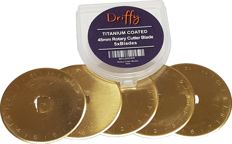 Driffy - Rotary Cutter Titanium Blades 5-Pack 45mm, Quilting Blades