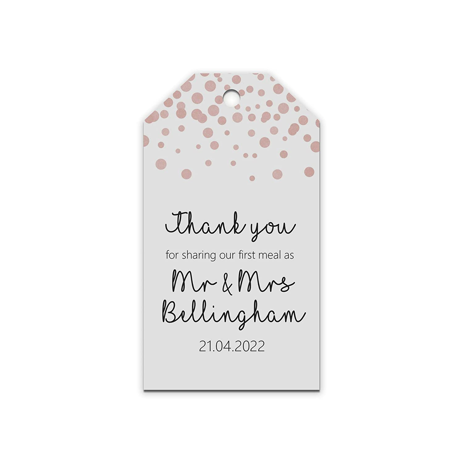 Party Hen Wedding First meal as Mr /& Mrs 5cm x 9cm Birthday White Card Rose Gold Personalised Rose Gold Gift Tags