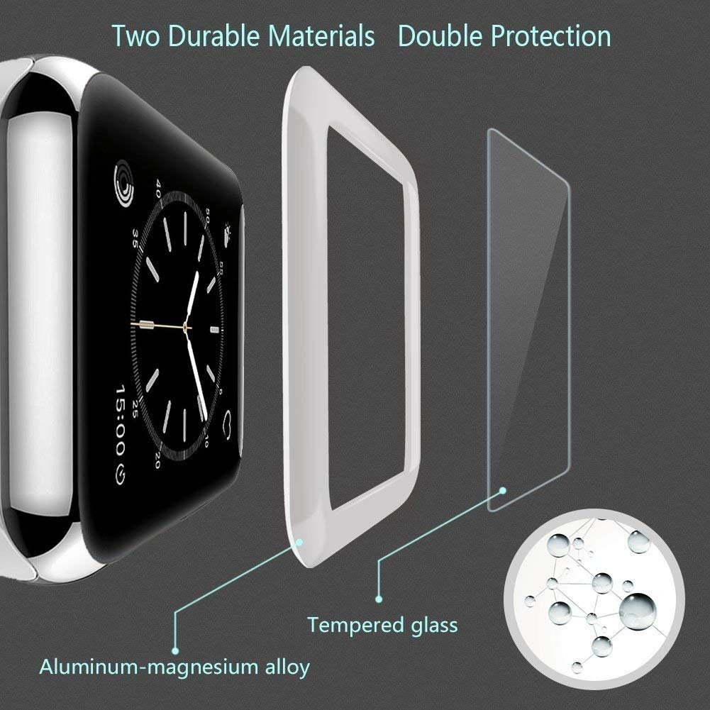 Josi Minea Apple Watch [ 38mm ] 3D Tempered Glass Screen Protector with Edge to Edge Coverage Anti-Scratch Ballistic LCD Cover Guard Premium HD Shield for Apple Watch Series 3 [ 38mm - Rose Gold ] by Josi Minea (Image #6)