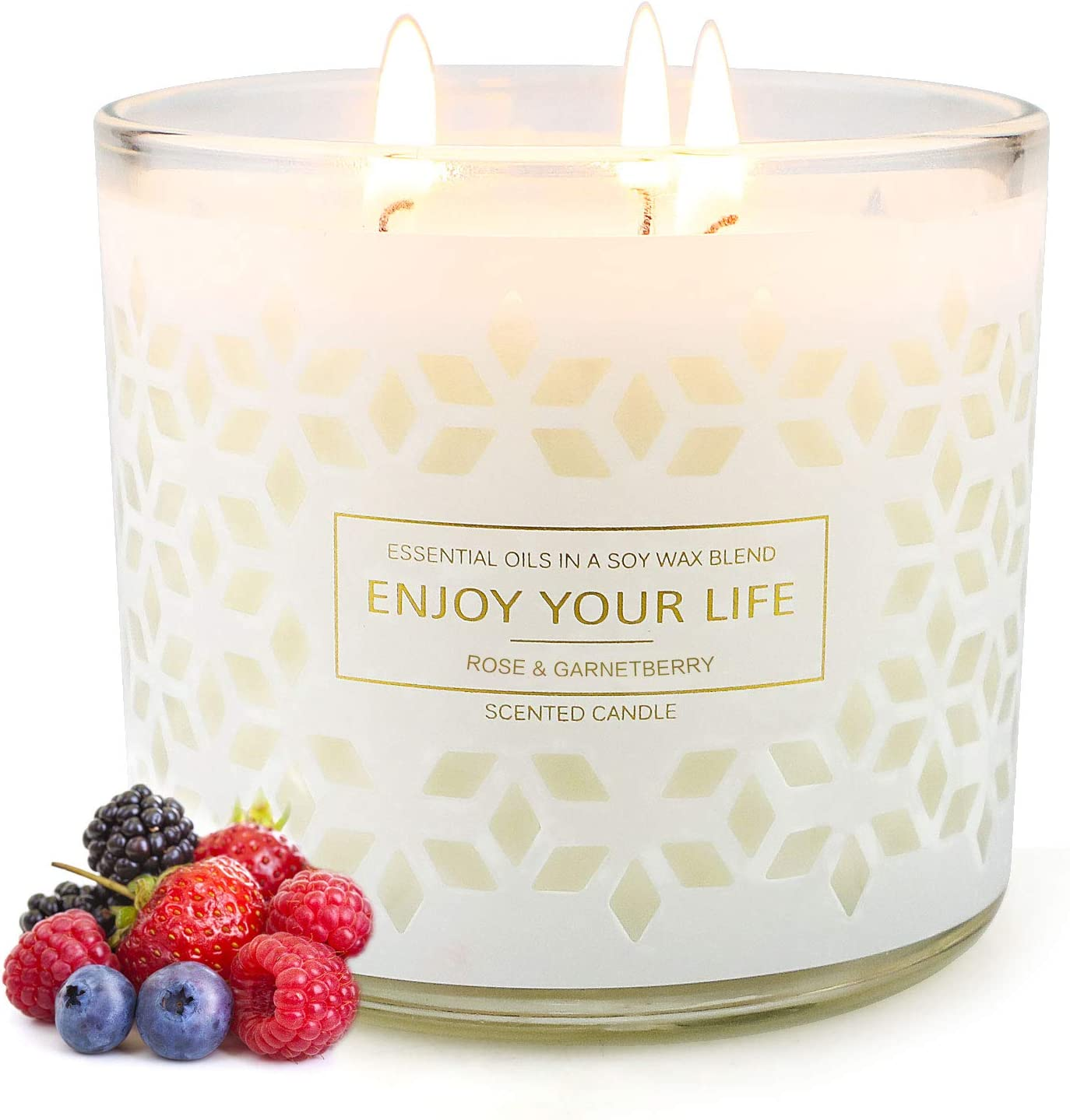 Scented Candles for Home Scented 14.5oz Large Aromatherapy Candles 125 Hour Long Lasting Fragrances Soy Candle for Home Decor Valentines Day Gifts for Her 3 Wick Jar Candle with Lid Berries Sweet Home