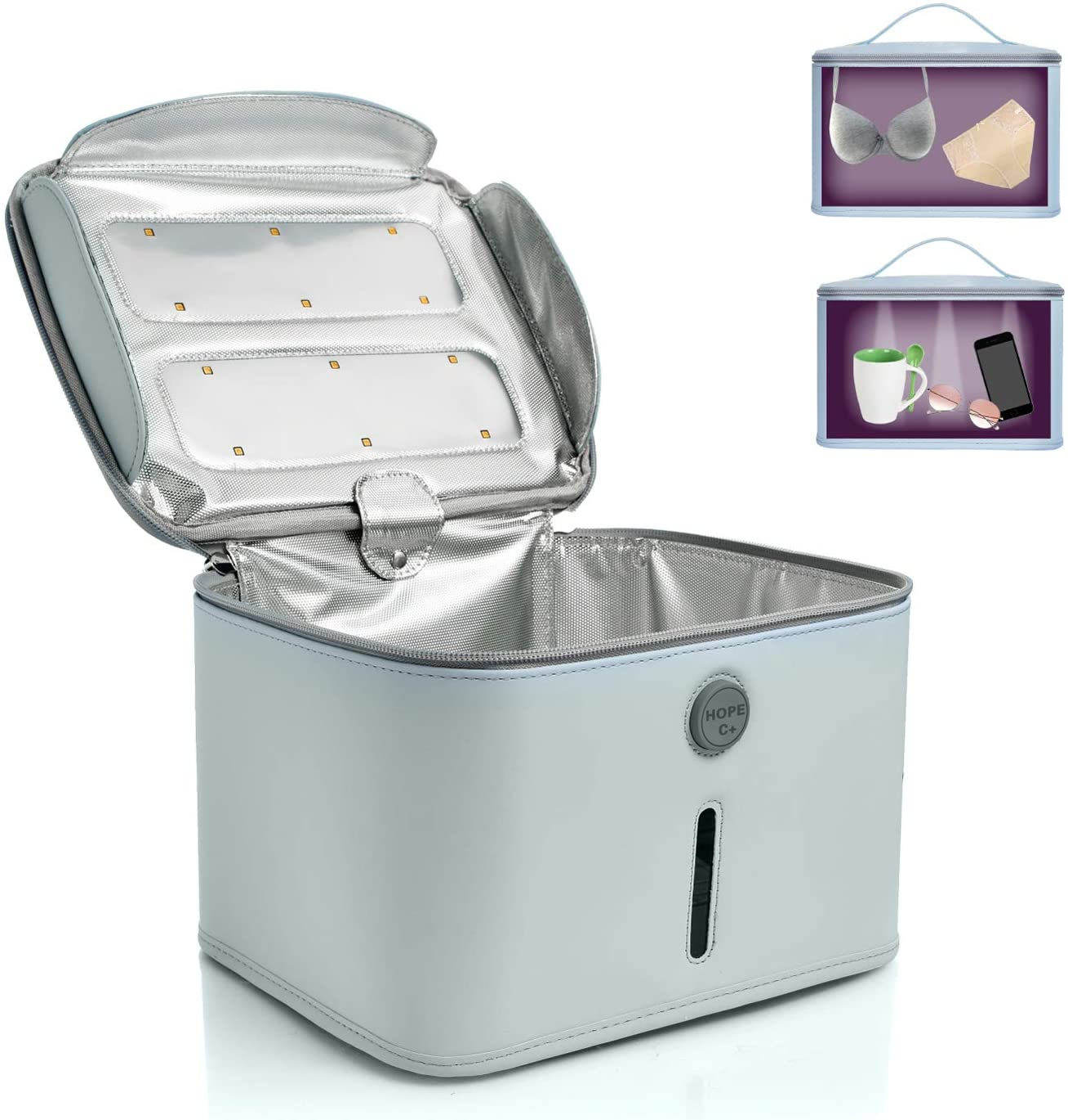 Hope C+ UVC Box sterilizer, Blue Sanitizing Box Portable Bag UVC Light Cleaner UV Sterilizer, Large Size Light Box for Phone, Beauty Tool99.99% Cleaned in 3 Minutes.