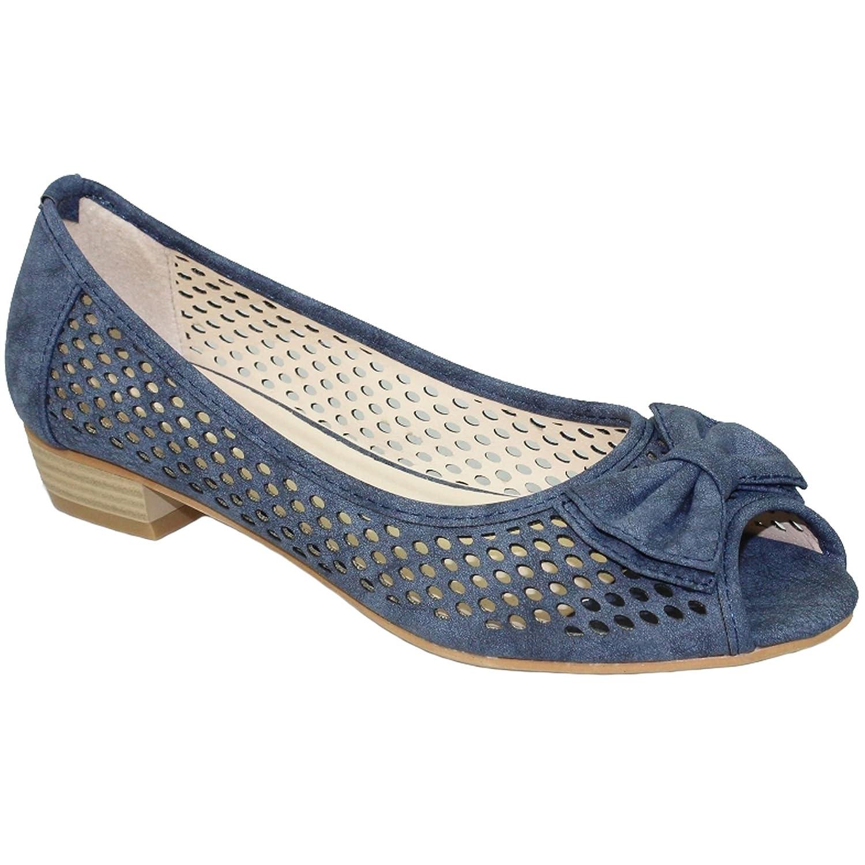 Saphir Boutique flc106 Damen Niedriger Absatz Sandalen Kane II Peeptoe Pumps Gepolsterte Innensohle Schuhe - Blau, 5 UK