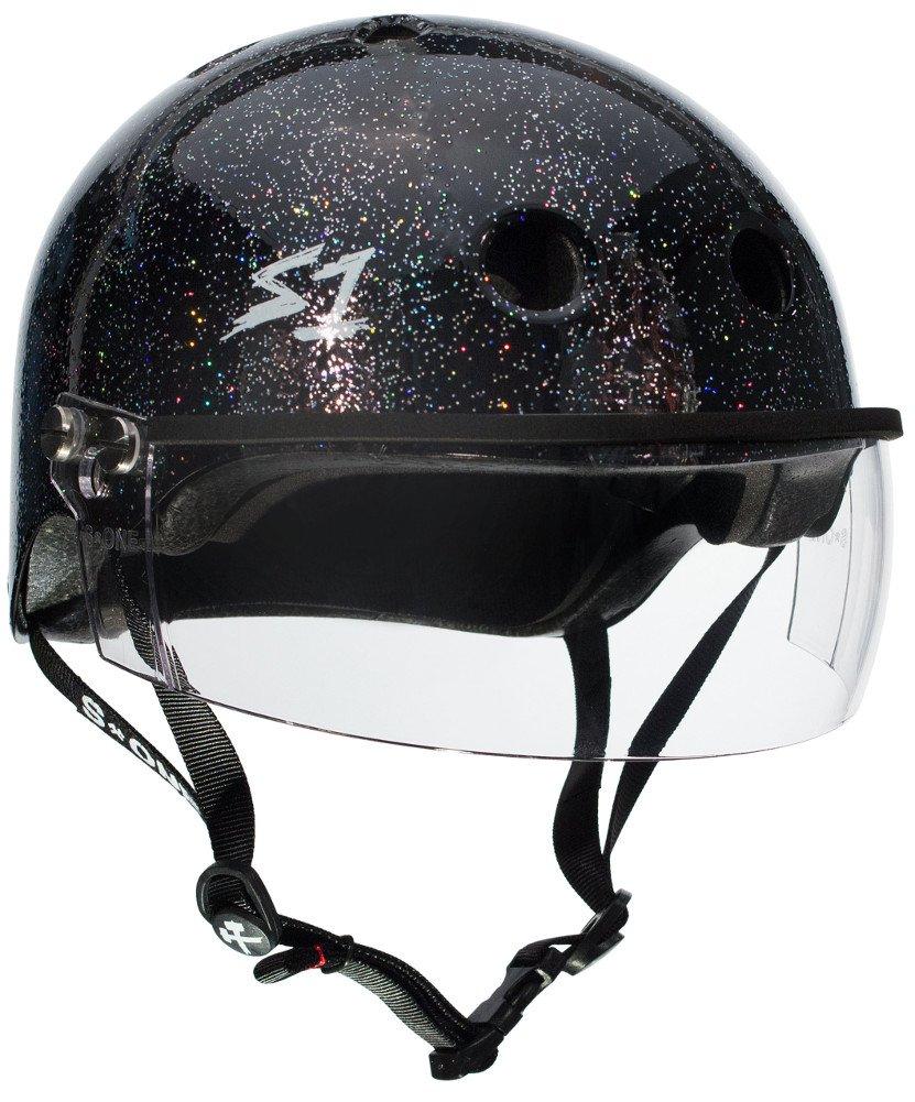 S-ONE Lifer Visor CPSC - Multi-Impact Helmet -Black Gloss Glitter - X-Large (22.5'')
