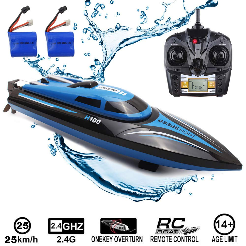 SZJJX RC Boat 2.4Ghz 25KM/H High Speed 4 Channels Remote Control Electric Racing Boat for Pools & Lakes Automatically 180° Flipping Transmitter with LCD Screen Blue by SZJJX