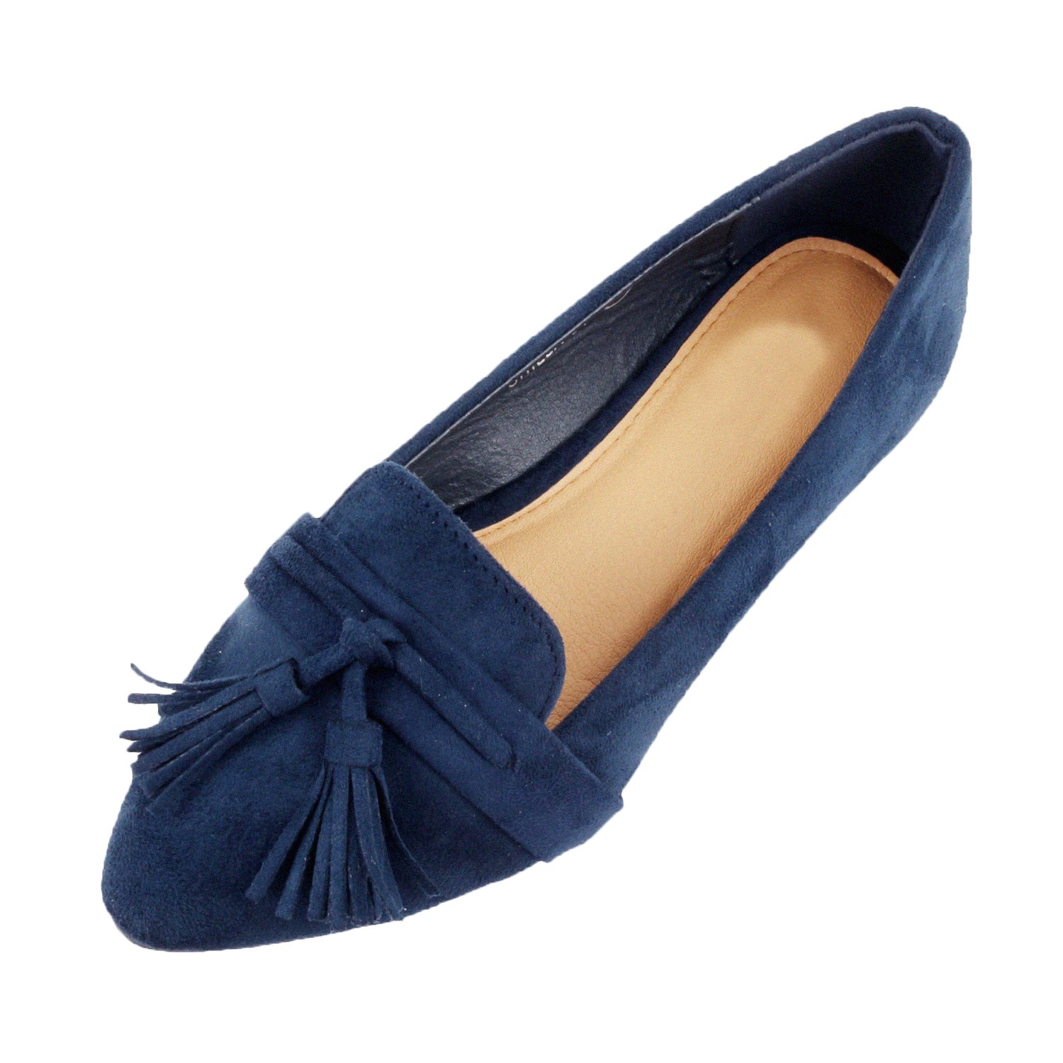 Guilty Heart Womens Tassel Slip On Suede Comfort Pointy Toe Loafer Oxford Espadrille Casual Flats (9 B(M) US, Navy Suede)
