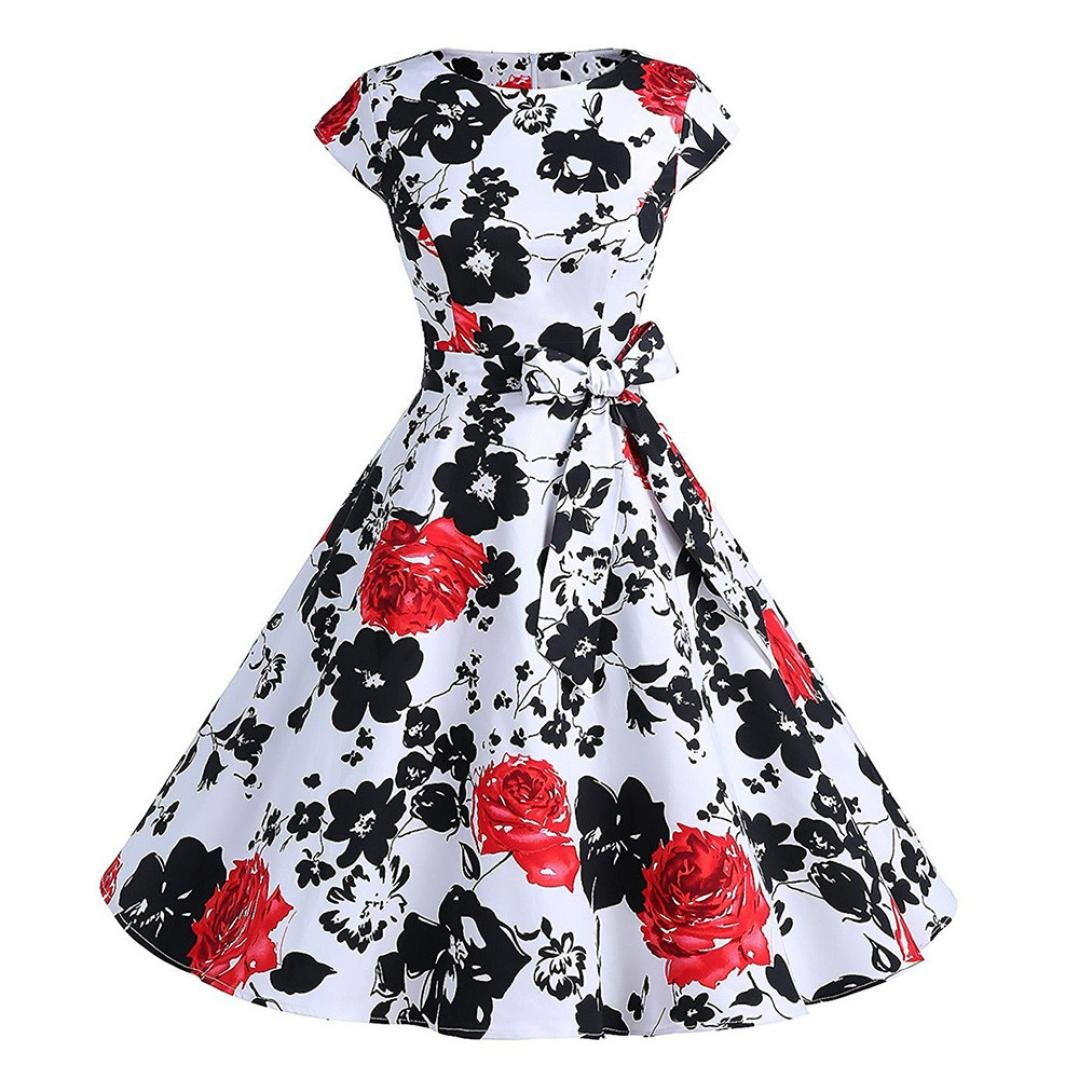 Honestyi Frauen Vintage Blumen 50s Retro Vintage Rockabilly Kleid ...