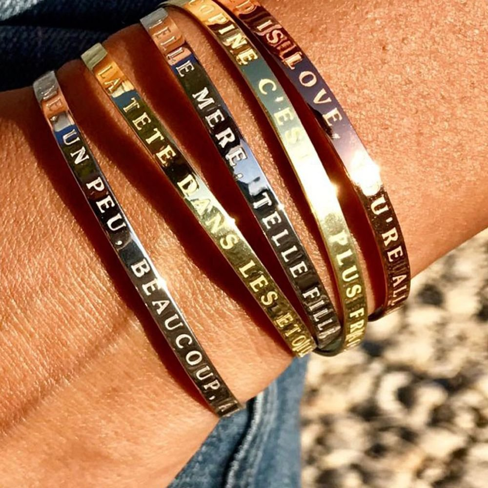 Mes-bijoux.fr Bracelet Jonc à Message Laiton Rosé Fais DE TA Vie Un Reve ET DE TES Reves Une REALITE MIR188rgv