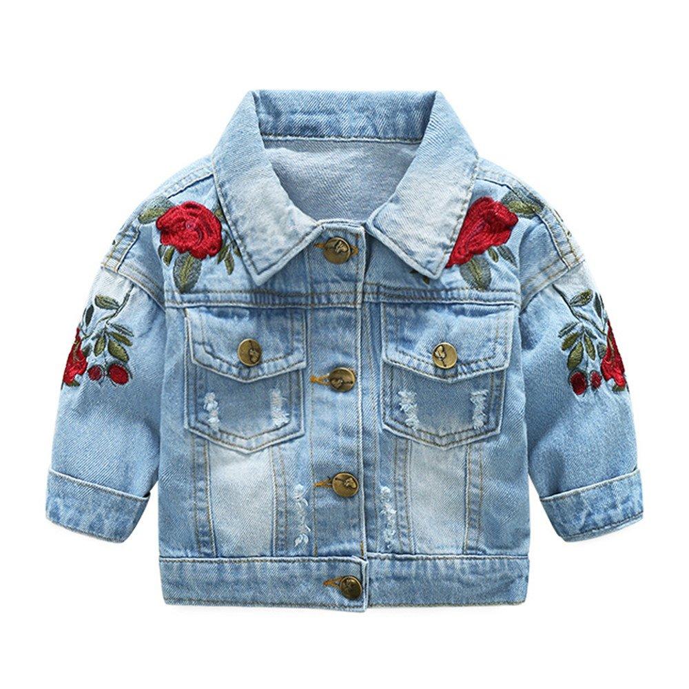 0fb69f49c Amazon.com  Tem Doger Kids Baby Girls Floral Embroidered Denim ...