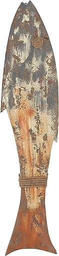Deco 79 84233 Wooden Fish Wall D cor, Blue Orange White Brown