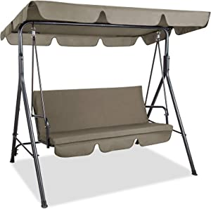 PAMAPIC Patio Swing Chair, 3-Person Outdoor Canopy Swing, Proch Swing with Removable Cushion and Convertible Canopy, Outdoor Swing Glider for Patio, Garden, Poolside, Balcony (Topaz)