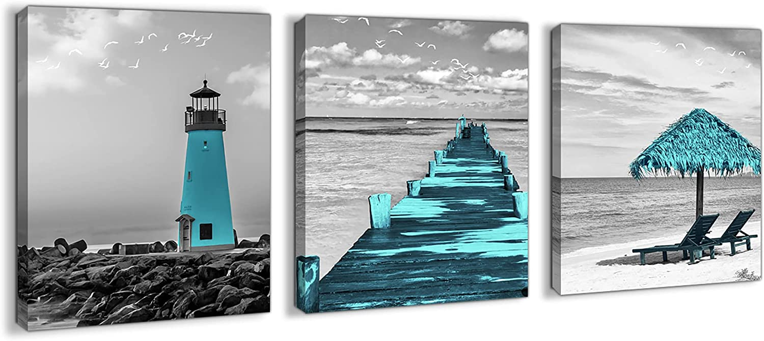 Beach Teal Coastal Wall Art for Bedroom Canvas Wall Decor Black and White Pictures Framed Seacoast Wall Art for Bathroom Modern Ocean Wall Decor for Living Room Artwork for Walls Size 12x16 Each Panel