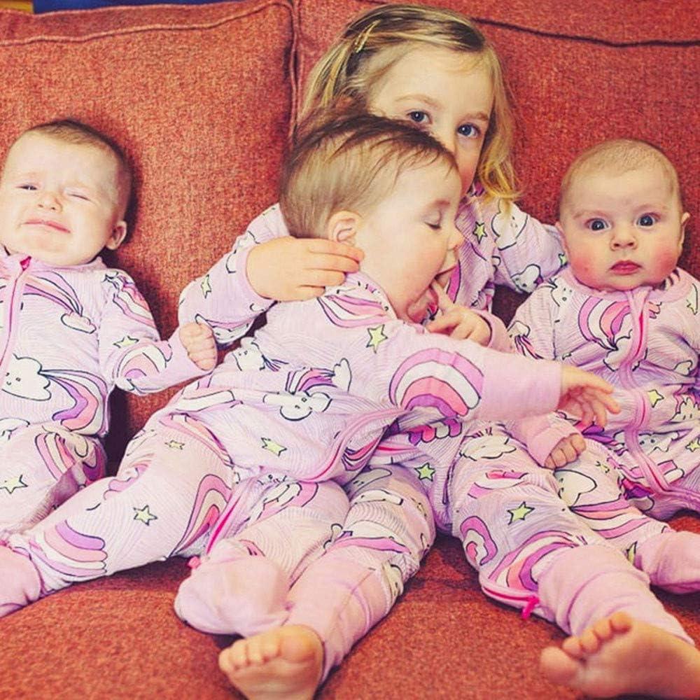 H.eternal Baby Girl Zip up Footless Romper Cartoon Rainbow Cloud Winter Sleepwear Clothes Cotton Pajamas Long-Sleeve Sleep and Play