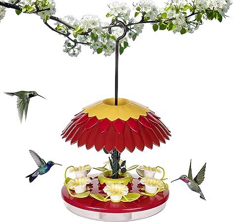 ORIENTOOLS Plastic Hanging Hummingbird Feeder Anti-ant Moat 12 Stations 16 oz