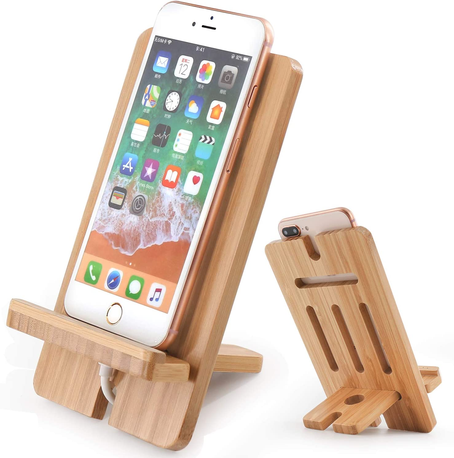 Cell Phone Tablet Stand, Bamboo Wooden Smart Phone Desktop Charging Dock Holder Compatible with Pad, Phone 8 Plus X XS Max XR, All iOS & Android Phone, Tablet - 1 Pack