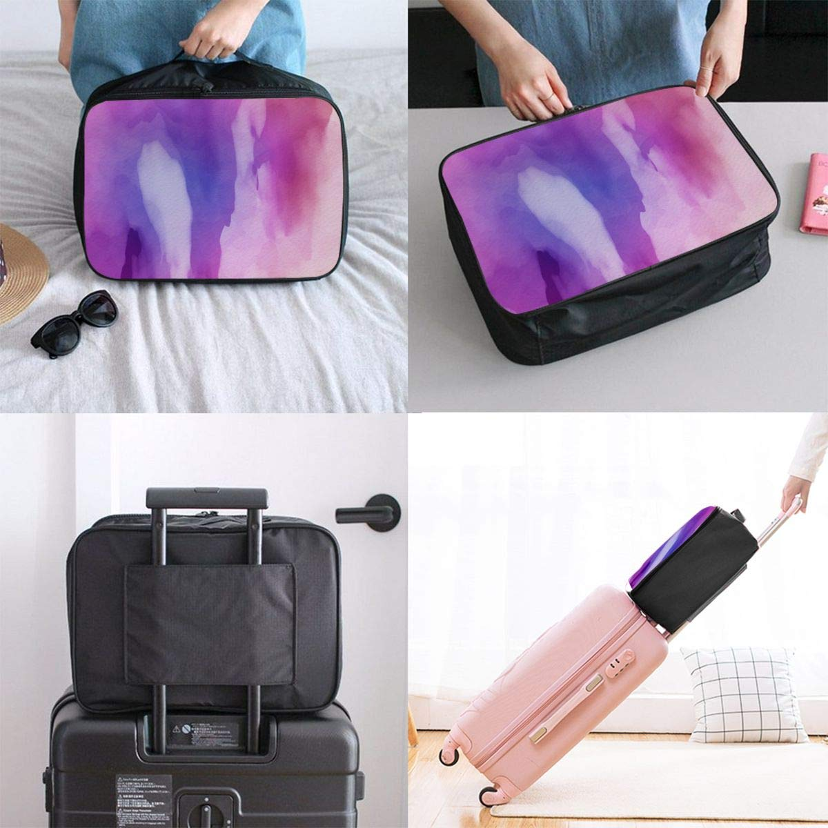 Texture Art Dream Travel Lightweight Waterproof Foldable Storage Carry Luggage Large Capacity Portable Luggage Bag Duffel Bag