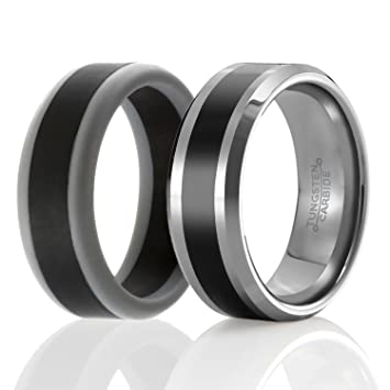 Amazon Com Soleed Twins Set Of 2 1 Tungsten Wedding Band And
