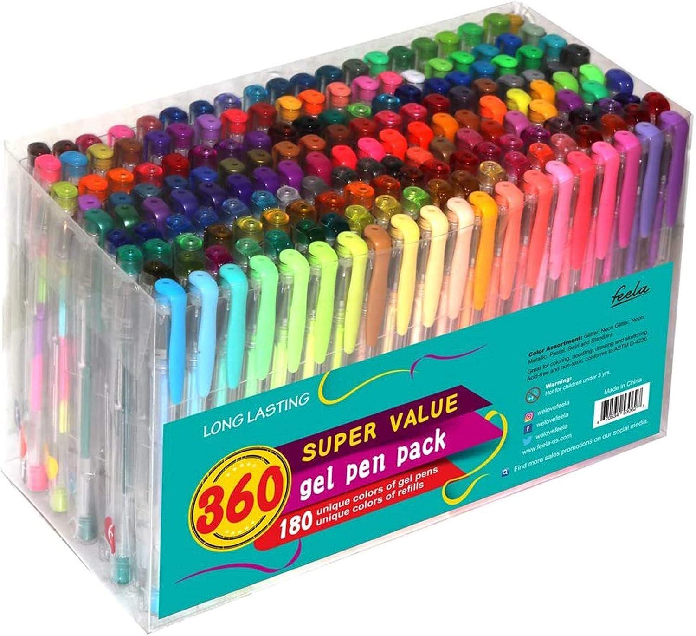 Feela 360 Colors Gel Pens Set 180 Unique Gel Pen Plus 180 Refills for Adult Coloring Books Drawing