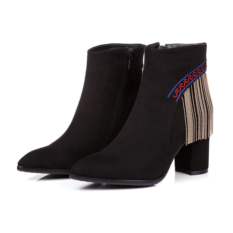 Lsm-Stiefel Lsm-Stiefel Lsm-Stiefel Frauen Spitz Block Heels High Short Ankle Stiefel 9f915f