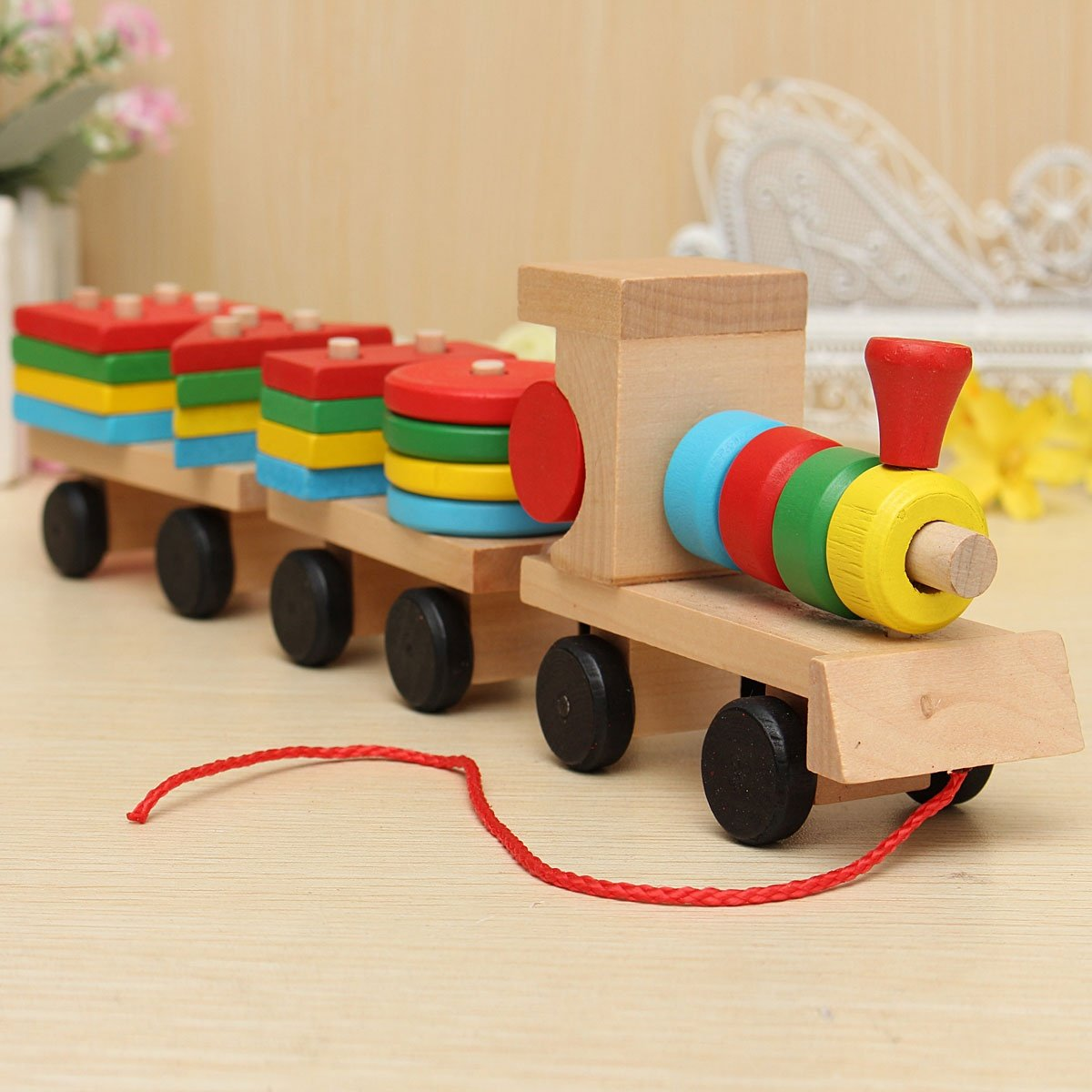 ZHCHL Lovely Educational Kid Baby Wooden Solid Wood Stacking Train Toddler Block Toy Gift Fun