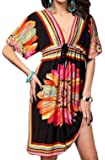 Newbely Women Low-out Short Sleeves Bohemia Bathing Suit Beach Dress Cover Ups