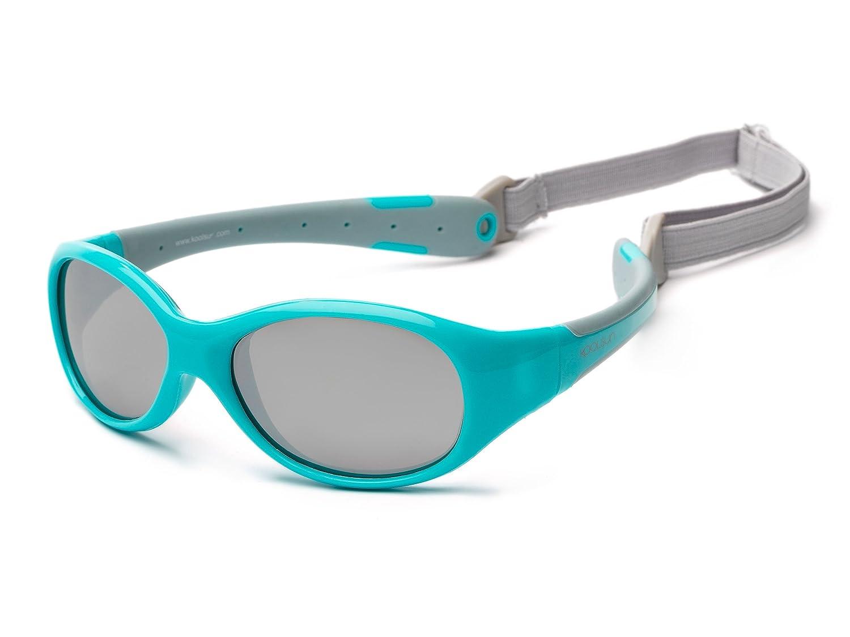 Baby Occhiali da sole 0–3anni | specchiato | Koolsun Flex Aqua Grey | 100% protezione UV | removibile con fascia per la testa | Optical Clas 1, Cat. 3| Flessibile & indistruttibile