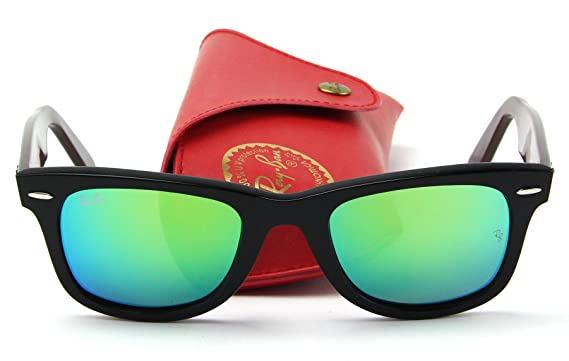 316dac921c Amazon.com  Ray-Ban RB2140 Original Wayfarer Bicolor Unisex Sunglasses  (Black Frame Green Flash Lens 117519